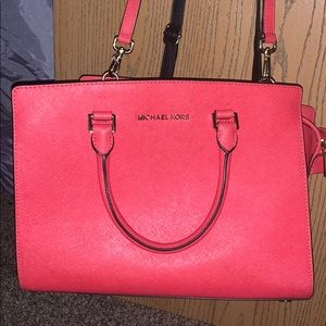 Authentic mk red coral color bag